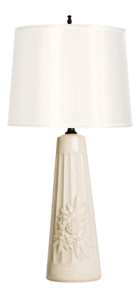 Mid-Century Porcelain Chrysanthemum Table Lamp | Chairish