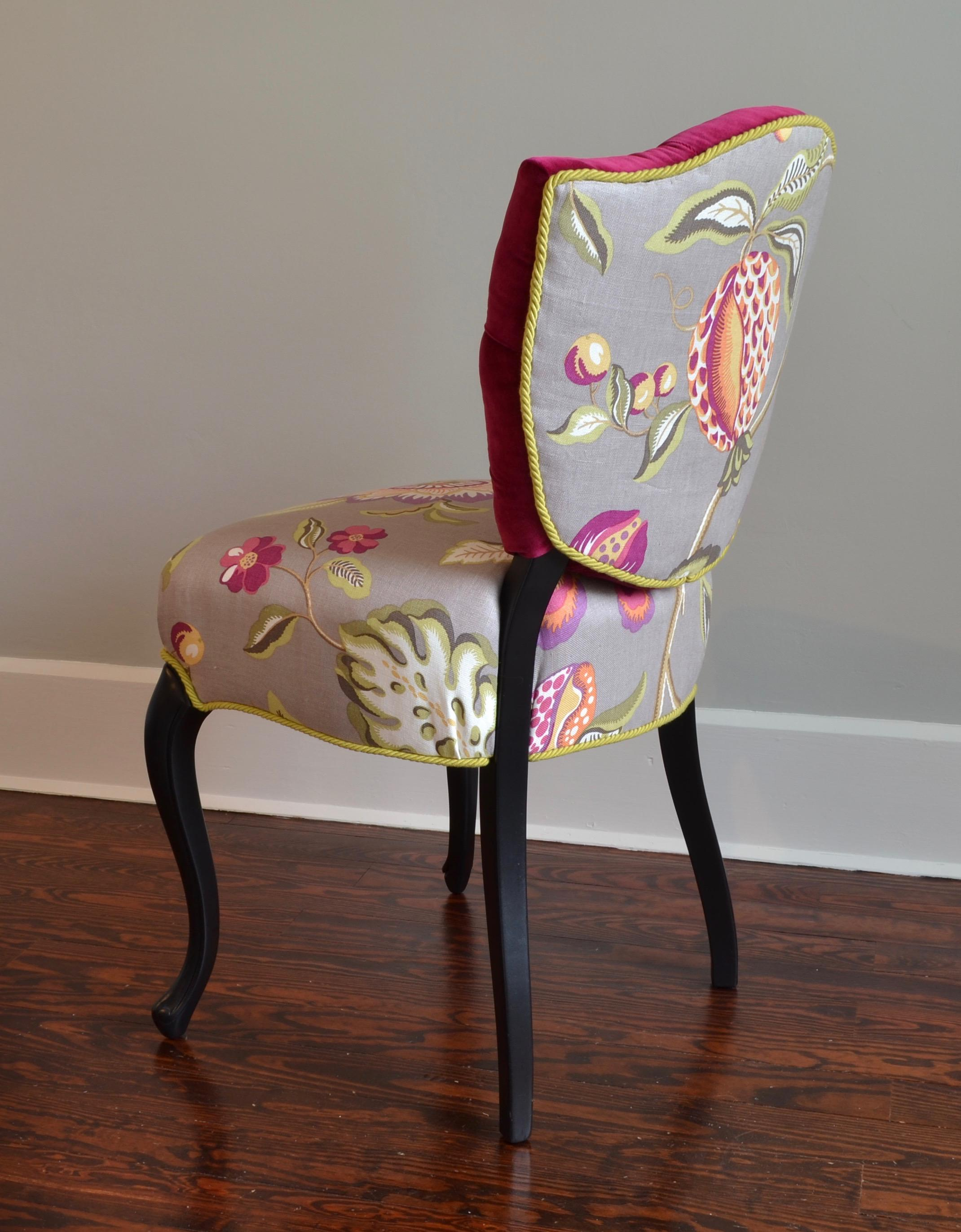 Tufted Pink Velvet  Linen French ShieldBack Accent Chair