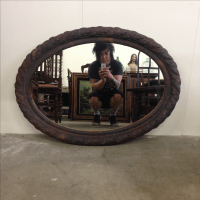 Rustic Vintage Metal Oval Framed Wall Mirror | Chairish