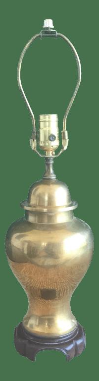 Vintage Chinoiserie Brass Ginger Jar Lamp | Chairish