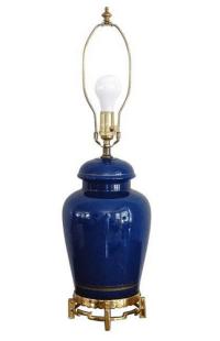 Vintage 1940's Cobalt Blue Glass Brass Table Lamp | Chairish