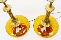 Mid Century Modern Amber Glass Table Lamps - a pair   Chairish