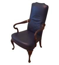 High Back Royal Blue Leather Accent Chair