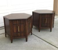 Mersman Mid Century Hexagon Brutalist-Style Side Tables or ...