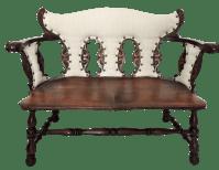 Antique Upholstered Jacobean Tiger Oak Bench or Settee ...