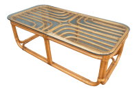 Vintage Bamboo & Glass Top Coffee Table