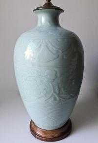 Chinoiserie Marbro Celadon Lamp | Chairish