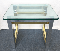Mid-Century Glass Top Brass & Chrome End Table | Chairish