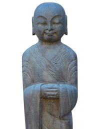Chinese Stone Carved Standing Lohon Monk Statue | Chairish