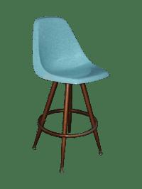 Mid-Century Turquoise Fiberglass Peg Leg Bar Stool   Chairish