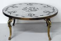 French Modern Marble & Brass Coffee Table | Chairish