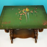 Vintage Hand Painted Bird Motif Wooden Accent Table | Chairish