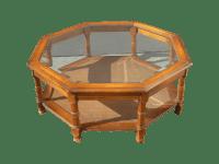 Mid Century Octagon Beveled Glass Top Coffee Table | Chairish