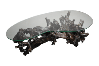 70s Driftwood Coffee Table Kidney Shaped Glass Top | Chairish