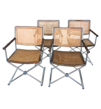 Mid-Century Faux Bamboo & Chrome Directors Chairs | Chairish