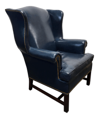 HANCOCK & MOORE Navy Blue Leather Chippendale Wing Chair