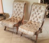 Mid-Century Japanese Obi Silk Chairs - A Pair | Chairish