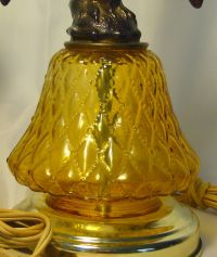 Vintage Pair of Amber Glass Eagle Lamps