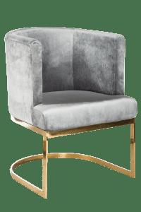 Circular Gray Velvet & Gold Dining Chairs - Set of 6 ...