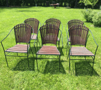 Mid Century Wood And Iron Patio Chairs - Set of 6 | Chairish