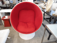 Zuo Mod Swivel Round Chair in White Fiberglass and Red