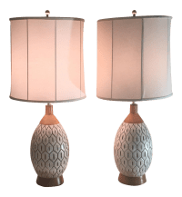 Mid-Century Ceramic Pineapple Table Lamps - a Pair | Chairish