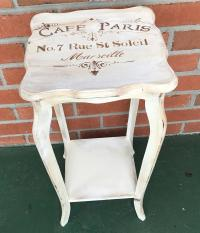 Vintage French Distressed Chalk Painted Off-White Side ...