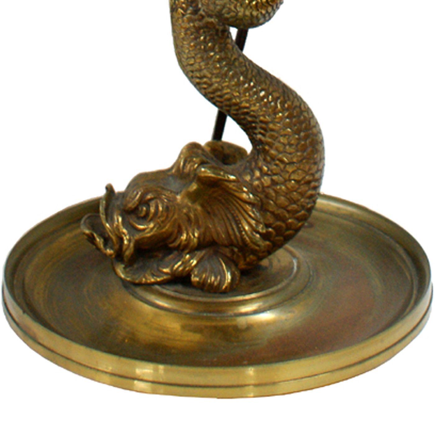 Vintage Brass Koi Fish Table or Desk Lamp