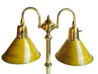 Vintage Tole Ware Bankers Lamp Double Brass Shades | Chairish