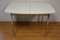 Mid-Century Chrome and White Dining Table | Chairish