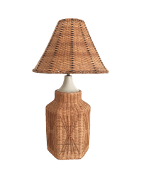 Vintage Wicker Table Lamp & Shade
