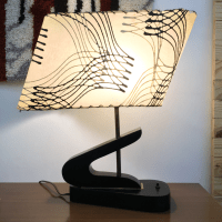 Mid-Century Retro Table Lamp With Fiberglass Shade | Chairish