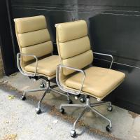 Eames High-Back Executive Leather Chairs- A Pair | Chairish