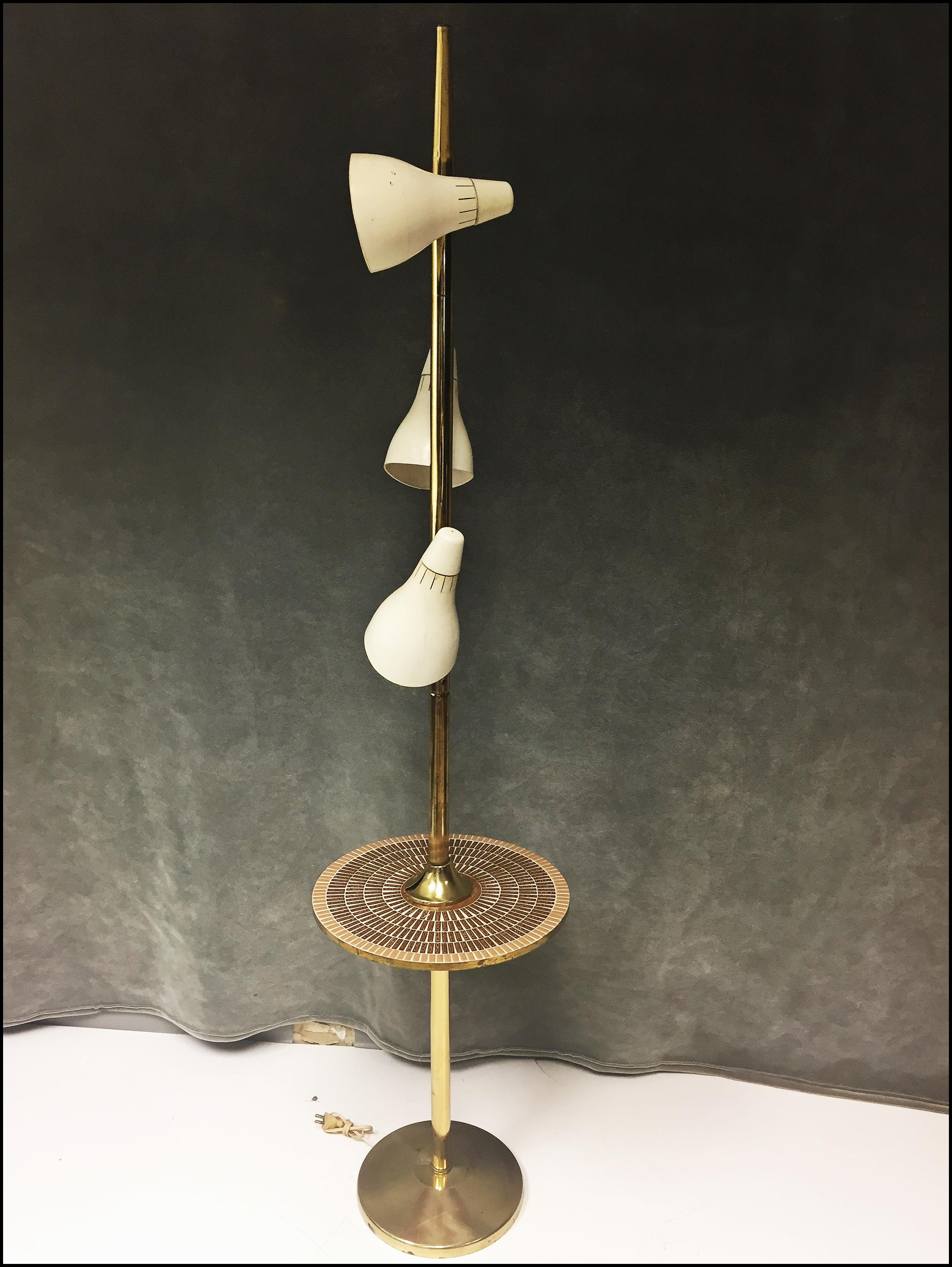 Mid Century Modern Pole Lamp with Tile Top Table