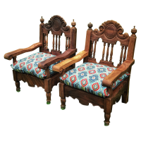 Hand Carved Mexican Throne Chairs - Pair | Chairish