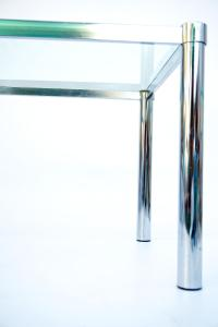 Mid-Century Modernist Chrome & Glass Side Table | Chairish