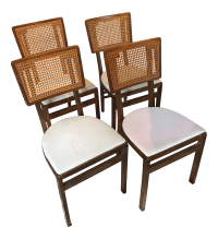 Vintage Stakmore Cane Folding Chairs - Set of 4 | Chairish
