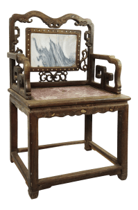 Antique Chinese Marble & Carved Rosewood Chair