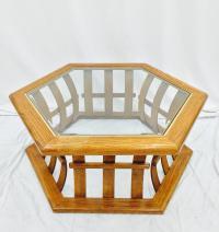 Retro Mid Century Wood & Glass Top Coffee Table | Chairish