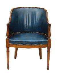 Blue Leather & Nailhead Trim Library Chair | Chairish