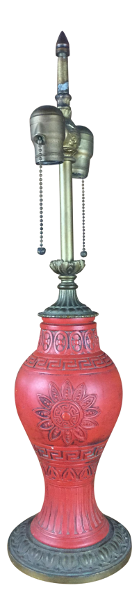 Asian Inspired Red Pottery & Brass Lamp | Chairish