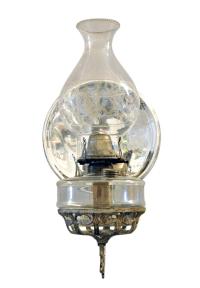 Antique Wall Bracket Oil Lamp in Cast Iron | Chairish