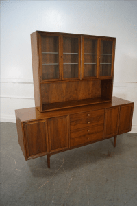 Drexel Declaration Midcentury Walnut China Cabinet by Kipp