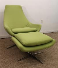 Mid-Century Danish Modern Lime Green Swivel Lounge Chair ...