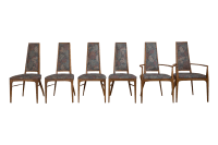Mid-Century High Back Dining Chairs- Set of 6 | Chairish