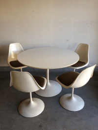 Mid Century Modern Tulip Base Dining Table & 4 Chair Set ...
