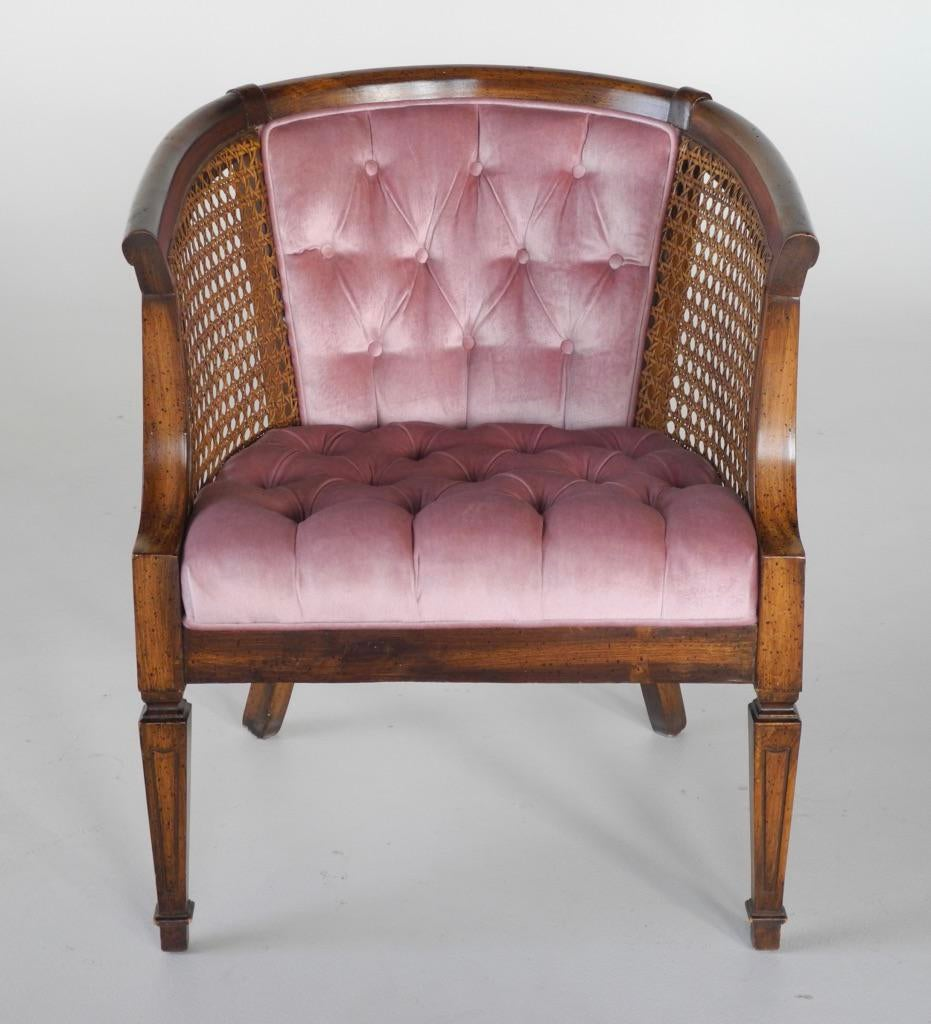 French Provincial Tufted Cane Barrel Chair  Chairish