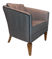 Satin Gray Tweed Upholstered Barrel Chair | Chairish