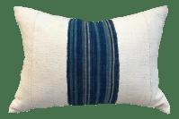 African Mudcloth White & Indigo Pillow | Chairish