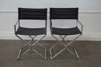 Mid-Century Chrome Frame Directors Chairs - A Pair | Chairish